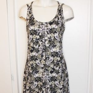 Patagonia Black Grey Floral Racer Back Dress M